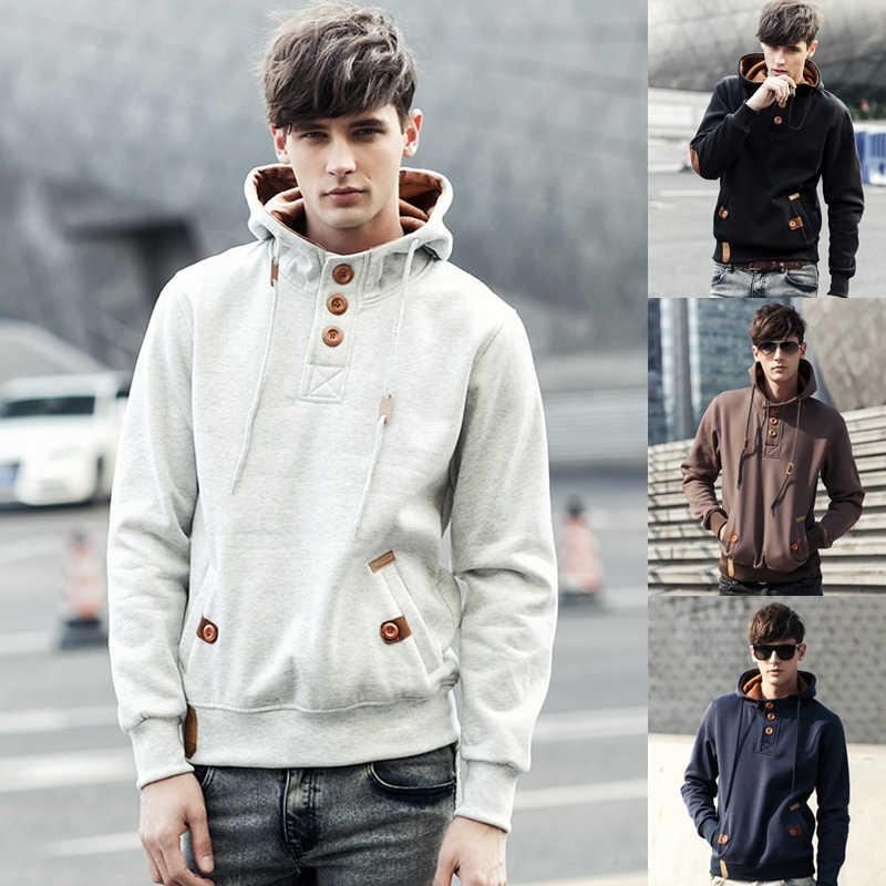 Men Fashion Hoodies 2020 Brand New Hooded Sweatshirts Mens Crew Neck  Pullover Hoodie Male Casual Solid Sweatshirts with Button|Hoodies &  Sweatshirts| - AliExpress