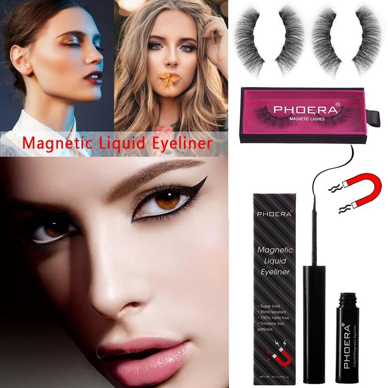 PHOERA Black Eyeliner Magnetic For Magnetic Fake Eyelashes Waterproof Liquid Eye Liner Pencil Sweat-proof Makeup Cosmetics TSLM1