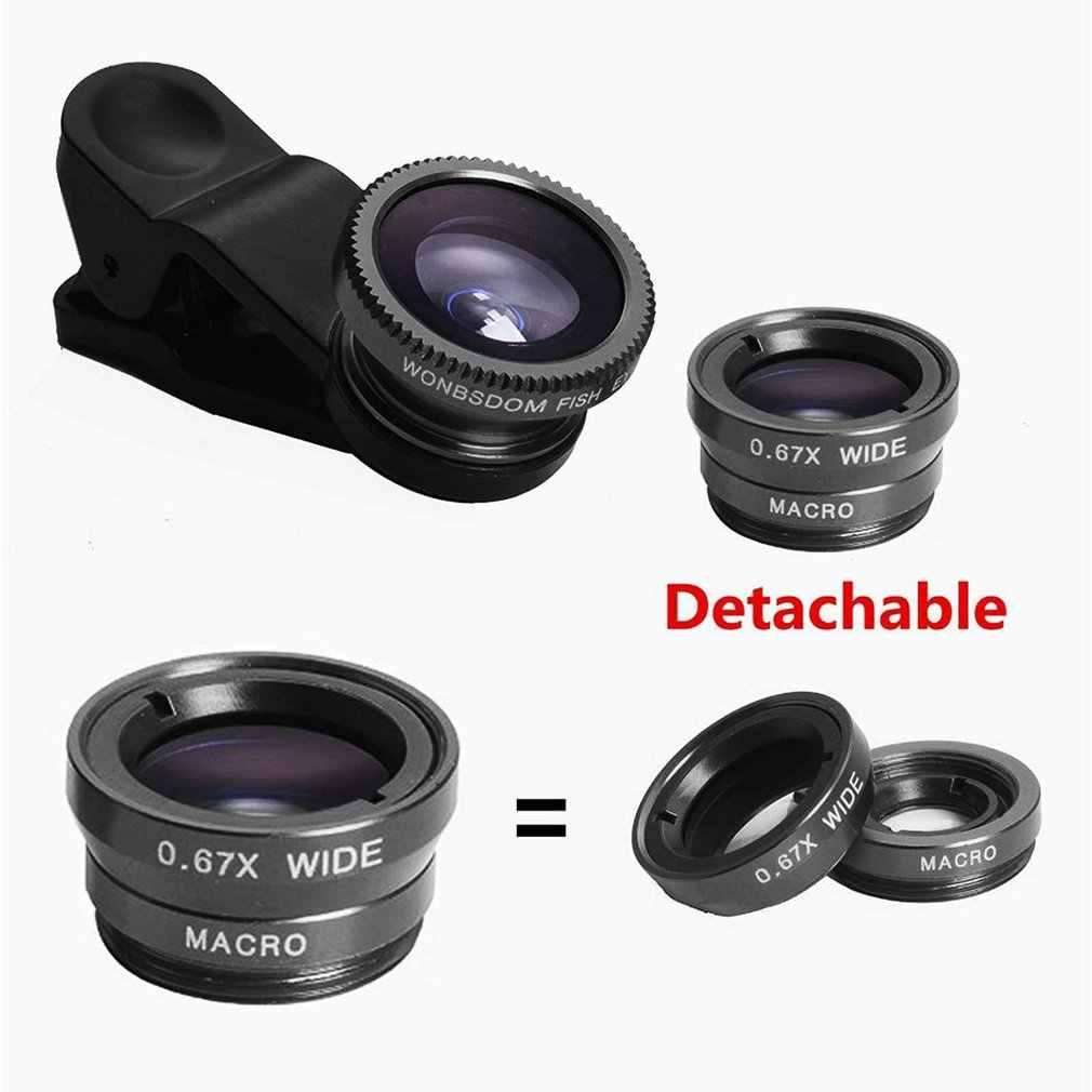 3-in-1 szeroki kąt obiektyw makro typu rybie oko zestaw do kamery telefonu komórkowego rybie oko soczewki z klipsem 0.67x dla wszystkich telefonów komórkowych