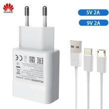Huawei original carregador rápido adaptador 5v 9v 2a micro tipo-c cabo para huawei p8 p9 plus lite honra 8 9 companheiro 8 10 nova 2 2i 3 3i