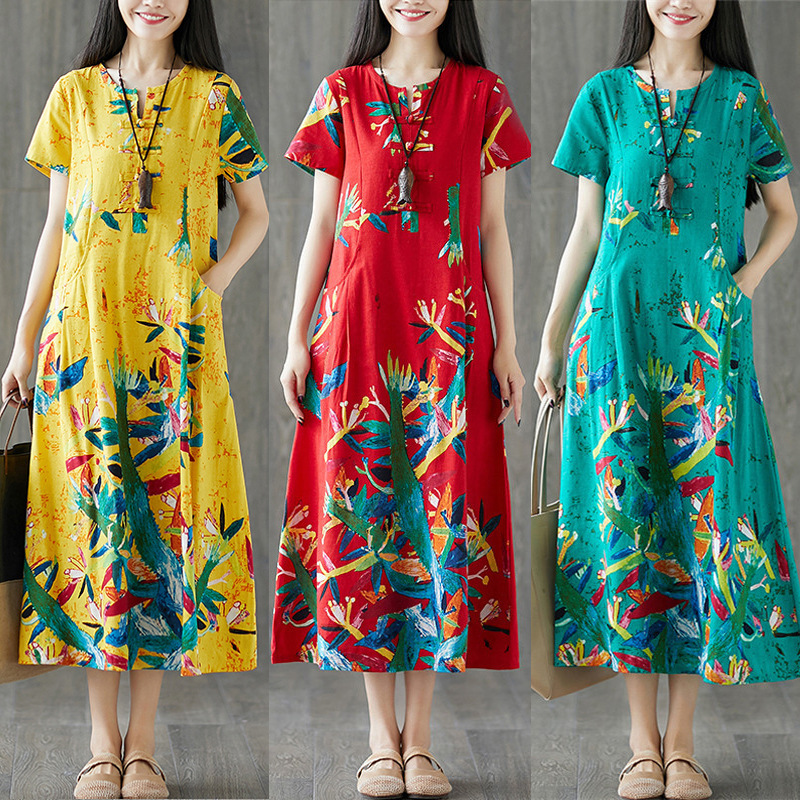 Ethnic-Style Printed Cotton Linen Frog Crew Neck Slimming Short-sleeve Dress Women's Mid-length 2019 Summer New Style Photo Shoo