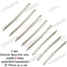 Conjunto de 21 peças de cobre liga níquel baixo traste fio largura 2.9mm cupronickel baixo fingerboard traste fio