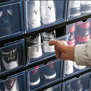 Image 5 - 1Pcs Plastic Drawer Type Shoe Box Transparent Box For Shoes Basketball AJ Shoe Storage Boxes Shoe Storage Organizer