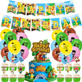 48 шт./компл. лес воздушные шарики в виде животных Аниме лесных животных День рождения баннер торт Топпер шары День рождения украшения детски...