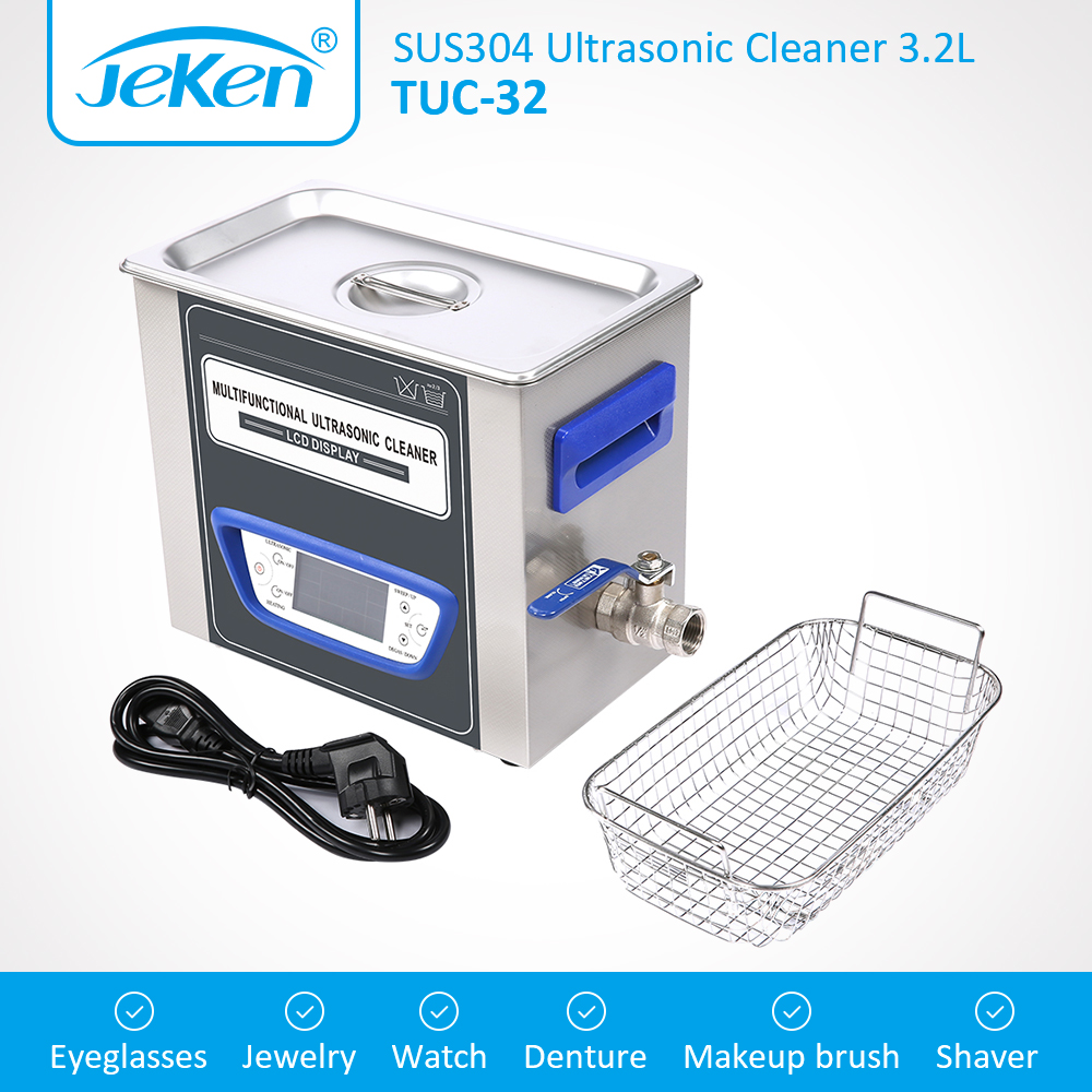 Jeken High Quality TUC-32 Ultrasonic Jewelry Cleaner Multifunctional Low Noise Ultra Sonic Glasses Cleaning Device Dental Use