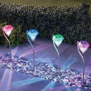 4 шт. солнечный светильник LED садовый светильник s Красочные наружные светодиодные лампы Путь Кола украшения алмазы лужайка лампа путь солне...
