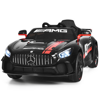 Coche de paseo para niños con licencia 12V Mercedes Benz AMG con Control remoto negro de 2,4G