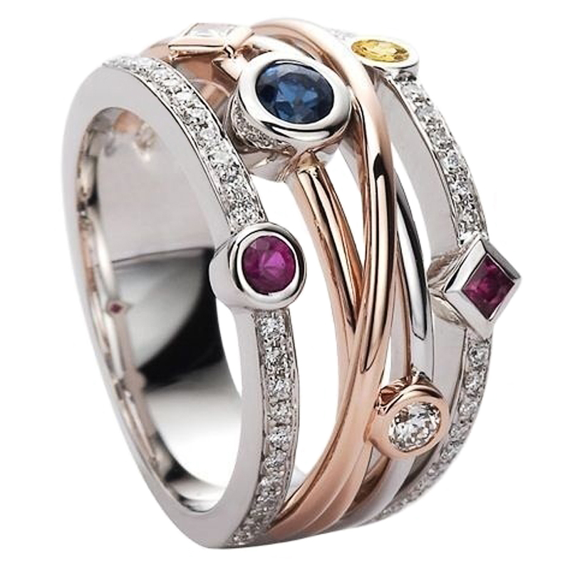 Cross Female Finger Ring Jewelry White/Yellow Blue/Rose Red CZ Shine Stone