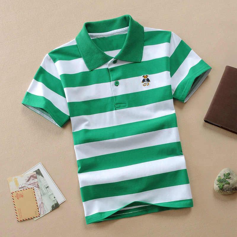 Letnie nowe chłopięce koszulka Polo z krótkim rękawem koszule 2-11y dzieci klapy paski dzieci chłopiec topy koszulki bawełniane dziewczyny chłopcy koszulki Polo