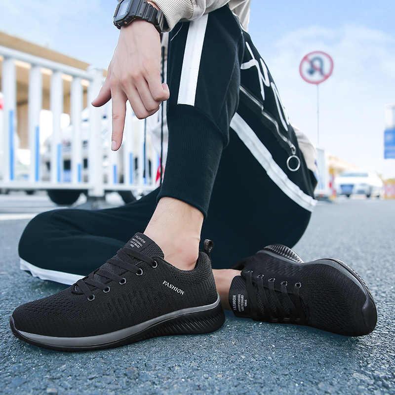 נוח נעליים יומיומיות גברים לנשימה הליכה נעלי ספורט קל משקל שחור נעלי גברים תחרה עד נעלי ריצה גברים גדול גודל