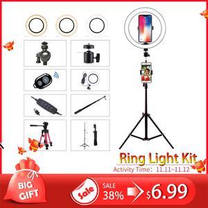 Image 1 - ไฟ LED 16 ซม.26 ซม.5600K 64 LEDs Selfie แหวนโคมไฟที่มีขาตั้งผู้ถือโทรศัพท์ปลั๊ก USB Photo Studio