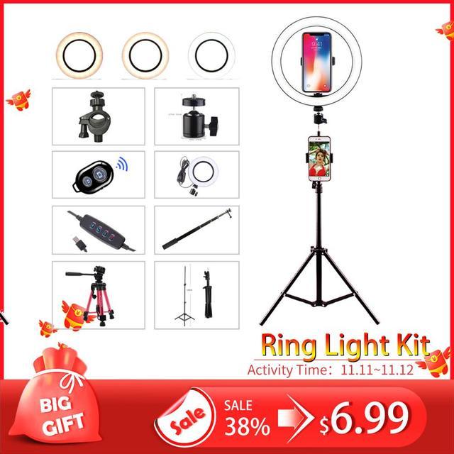 ไฟ LED 16 ซม.26 ซม.5600K 64 LEDs Selfie แหวนโคมไฟที่มีขาตั้งผู้ถือโทรศัพท์ปลั๊ก USB Photo Studio