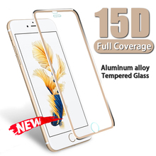 15D Aluminum alloy Edge Full Protective glass on For iPhone 7 6 8 6s Plus Screen Protector Film For XR X XS MAX Tempered Glass r just protective aluminum alloy frame case screen guard set for iphone 6 plus gold grey