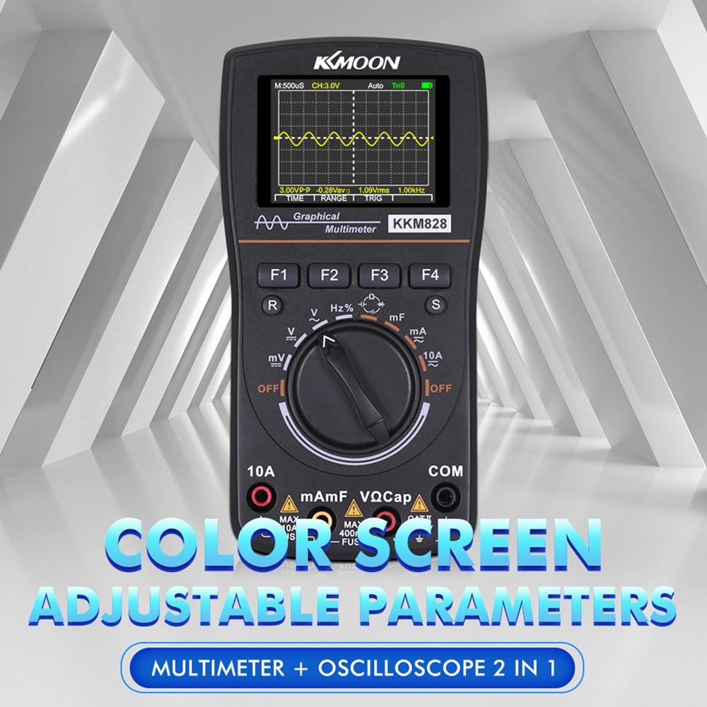 KKmoon kkm828 Интеллектуальный Графический Цифровой осциллограф мультиметр 2 в 1 с цветным экраном 2,4 дюйма полоса пропускания 1 МГц
