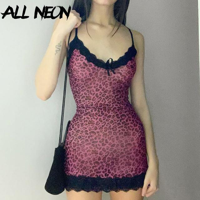 ALLNeon Y2K/Вечерние платья на бретельках с кружевной отделкой и леопардовым принтом мини-платье трапециевидной формы на бретельках с v-образным вырезом и кружевной каймой для девочек 3