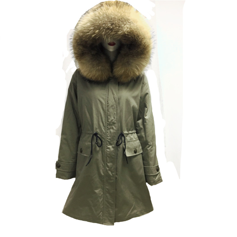 New High-quality Men Winter Genuine Leather Coat Faux-Rabbit Fur Jacket Military Style With Belt Plus Size