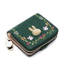 купить Women Wallets Small Rabbit Fashion Brand Leather Purse Ladies Card Bag Women Female Purse Card holders Money Clutch Wallet по цене 2445.03 рублей