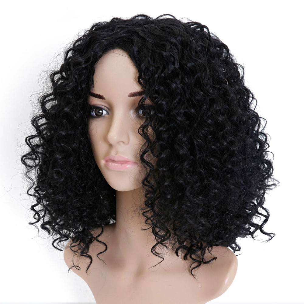 MSTN Short Kinky Curly Hair Halloween Party Cospaly Wig Feminine Synthetic High Temperature Fiber Wig