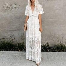 Ordifree 2020 קיץ Boho נשים מקסי שמלת Loose רקמה לבן תחרה ארוך טוניקת חוף שמלת חופשת חג בגדים