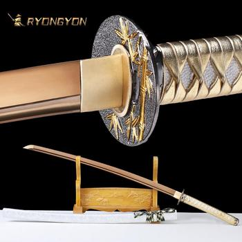 RYONGYON Handmade Katana Real Sword Sharp Genuine Japanese Samurai Sword Japan Ninja Sword 1095 Steel Full Tang Golden Blade 521 ryongyon handmade katana real sword sharp genuine japanese samurai sword japan ninja sword 1095 steel full tang blade 502