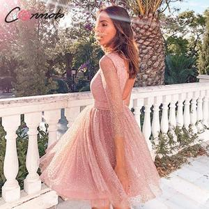 Image 2 - Conmoto 우아한 핑크 backless 여성 드레스 여성 2019 가을 겨울 높은 허리 드레스 패션 메쉬 스팽글 vestidos