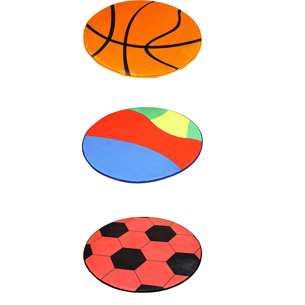 Polyester Anti-slip Ball Round Carpet Computer Chair Mat Football Basketball Living Room Mat Children Bedroom Rugs