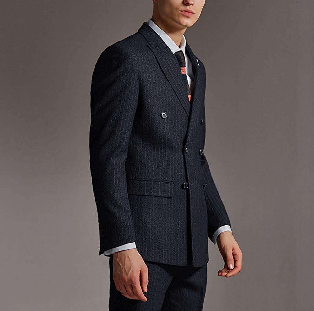 Solovedress (Blazer+Pants+Vest)Mens Stripes Suit Tweed Wool Blend Pinstripes 3 Pieces Peaked Lapel Groomsmen Tuxedos For Wedding