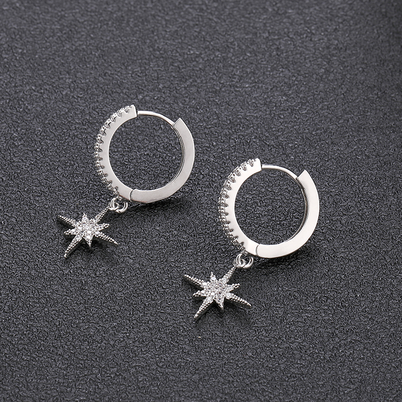 New Fashion Cute Stars Gold Earrings Top Quality cz Crystal clssic Charm gold Earrings For Women Girls Jewellery Gift 2020