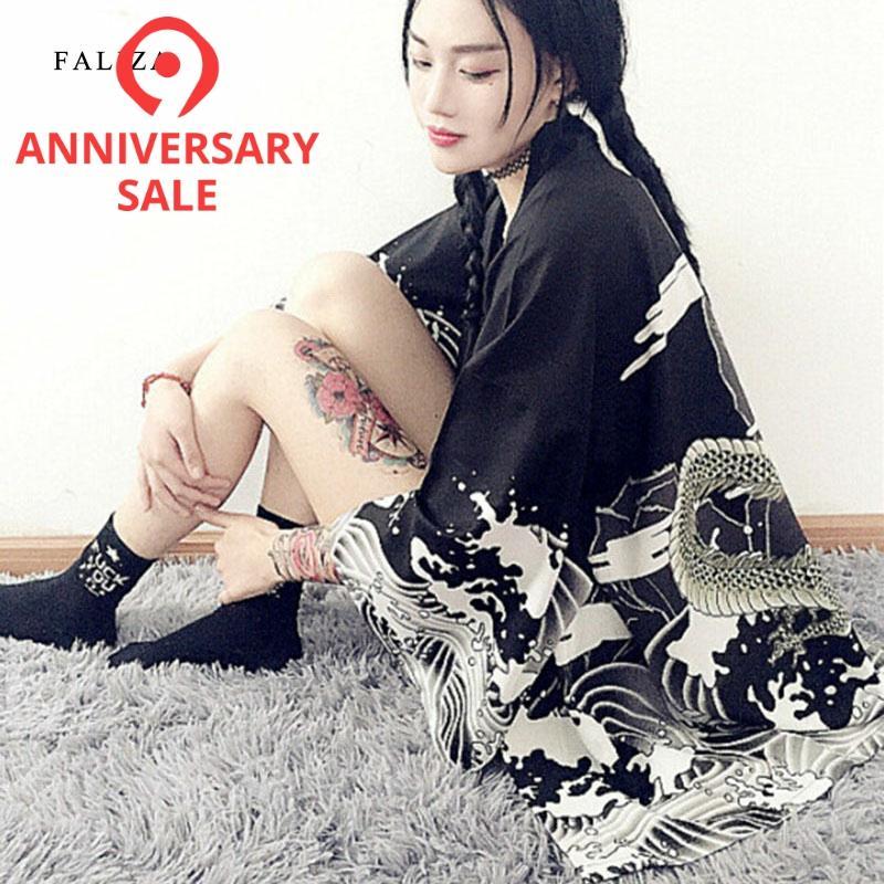 2019 винтажный Японский Harajuku стиль ветер и волны рубашки с драконом японское кимоно с принтом кардиган Лето Женская Осенняя блузка