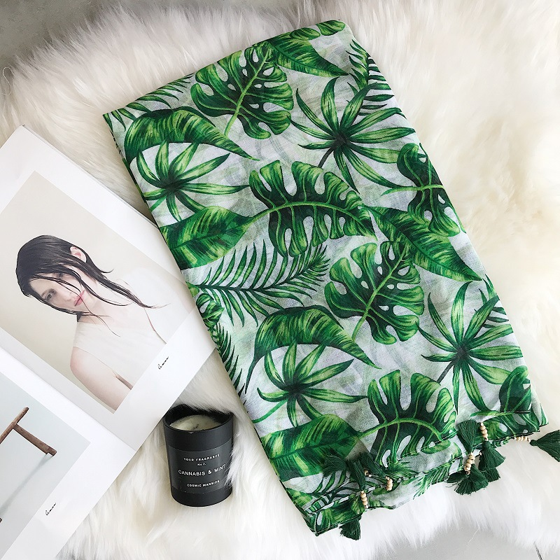 2020 Fashion Silk Scarf Nordic Wind Spring And Summer New Scarf Green Big Leaf  Cotton Linen Scarf Women's Scarf Sun Towel Shawl
