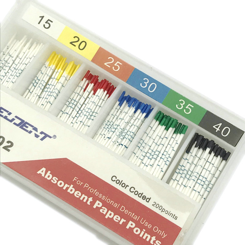 200pcs/Box Dental Absorbent Paper Points With Mark Root Cancel Endodontics Cotton Fiber Tips Dentist Product 15-40#
