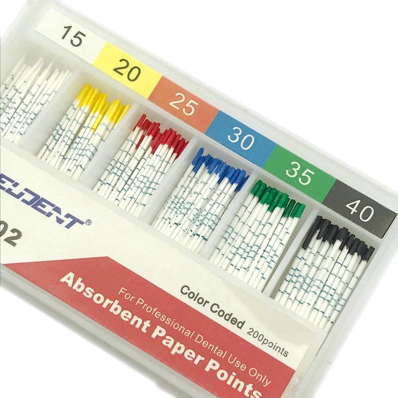 200pcs/Box Dental Absorbent Paper Points With Mark Root Cancel Endodontics Cotton Fiber Tips Dentist Product 15-40#
