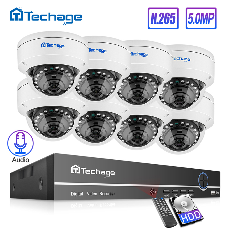 Techage H.265 8CH 5MP POE NVR CCTV System Vandalproof 5MP Indoor Dome Audio Audio IP Camera P2P Video Security Surveillance Set 2TB HD