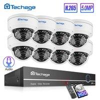 Techage H.265 8CH 5MP POE NVR système de vidéosurveillance anti-vandalisme 5MP dôme intérieur caméra IP enregistrement Audio sécurité P2P ensemble de Surveillance vidéo