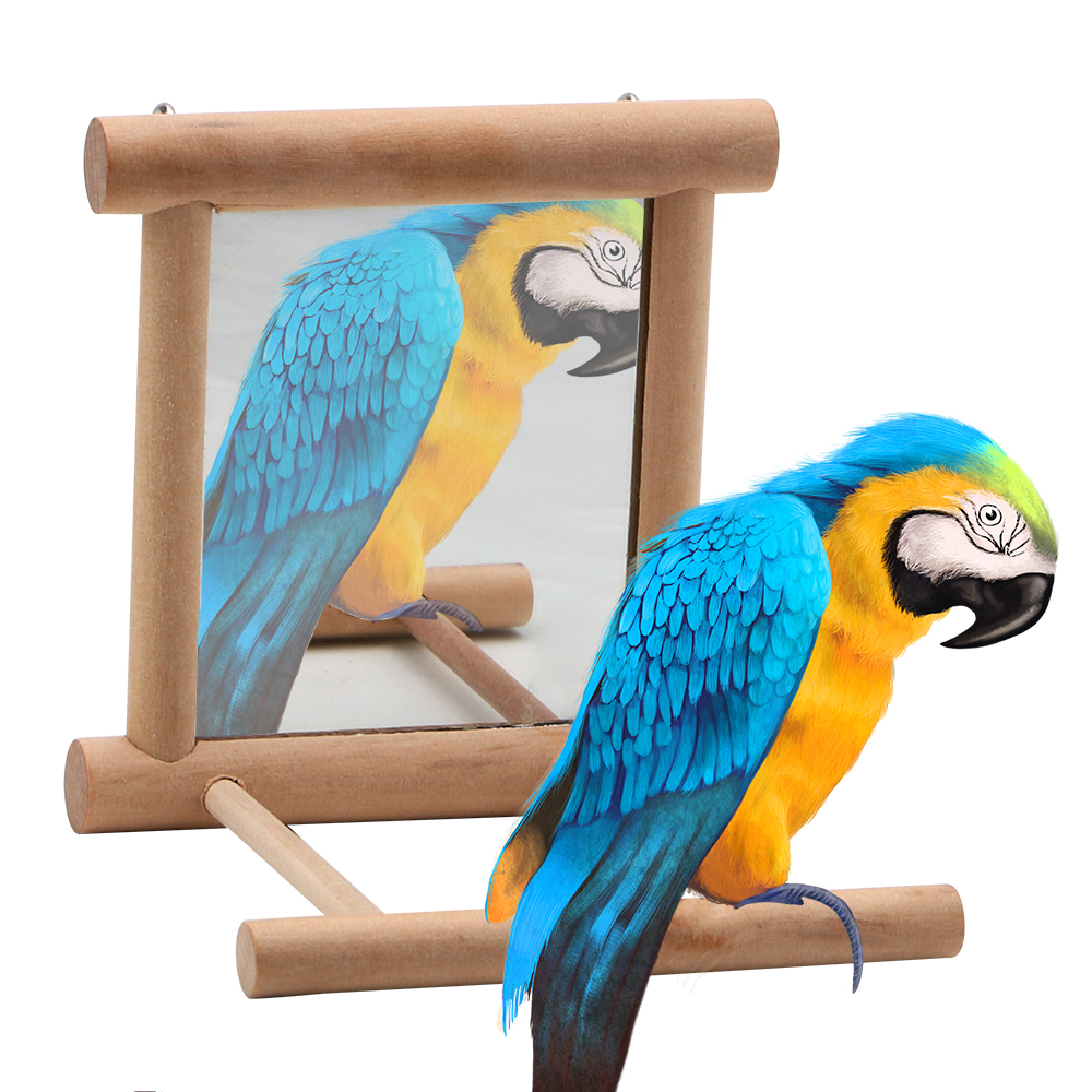 Wooden For Cockatiel Parrots Climb Bird Supplies House Decoration Pet Toy With Mirror Parrot Brid Toy Birdcage Accessories