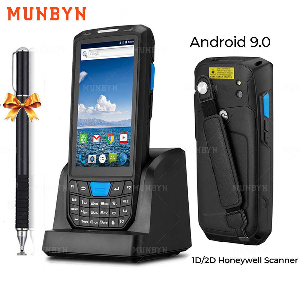 MUNBYN Handheld PDA Android 9.0 Rugged POS Terminal 1D 2D Barcode Scanner WiFi 4G Bluetooth GPS PDA Barcode Reader Data Capture