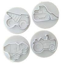 Cortadores de biscoito do bolo 4 pçs/set, moldes de bolo de fondant tema veículos (caminhões, trator, iluminação) ferramentas de decoração de bolo, cozimento