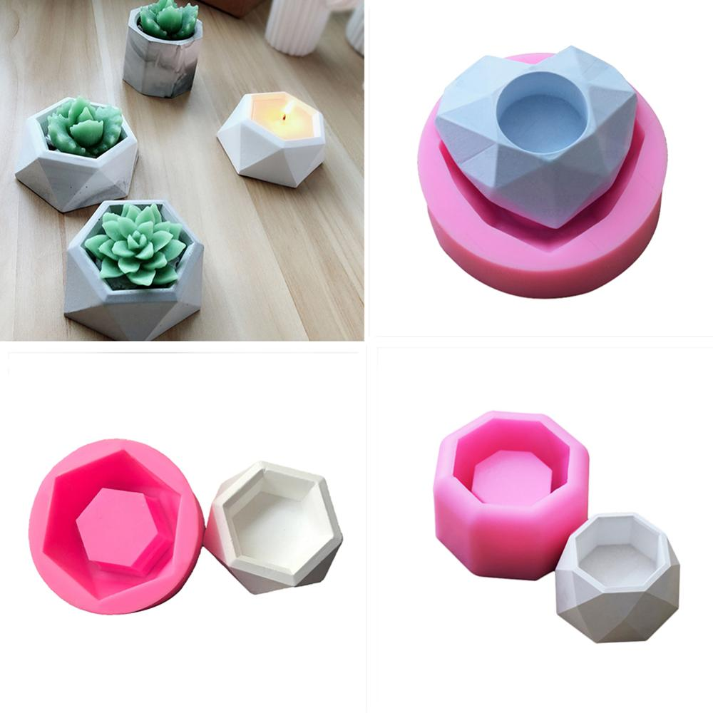 Silicone Mold Creative Geometric Polygonal Concrete Flower Pot Vase Mould Office Decoration DIY Clay Cementsilica Silicone Mold