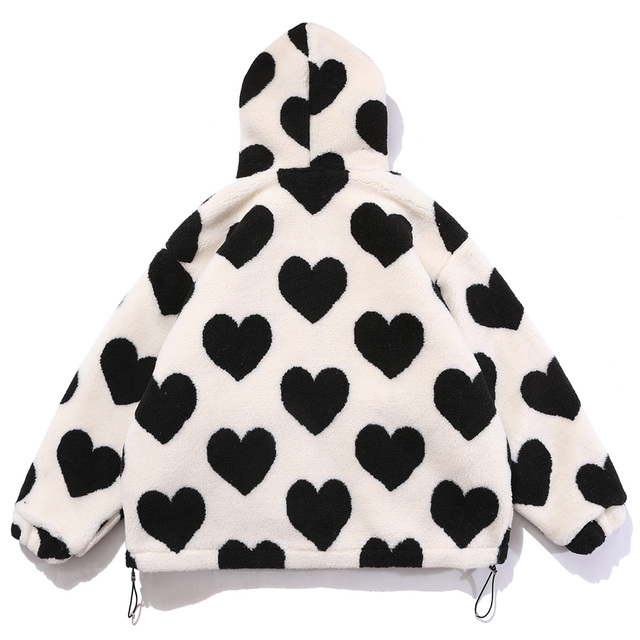 Aolamegs Cute Heart-shaped Print Lambswool Winter Jacket Men Drawstring Pockets Zipper Hooded High Street Warm Couple Streetwear 2