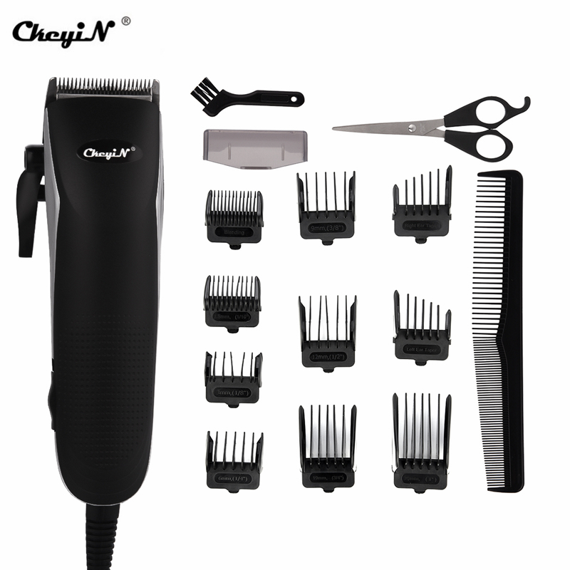 Professional Barber Hair Trimmer Powerful Electric Hair Clipper Hair Cutter Men Hair Cutting Machine Scissor Shear Limit Comb