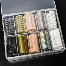 31 wzorów 10 kolorów/pudełko 4*100CM modne naklejki do paznokci zestaw nowy projekt naklejki foliowe na paznokcie rolki DIY tipsy akrylowe folie dekoracyjne