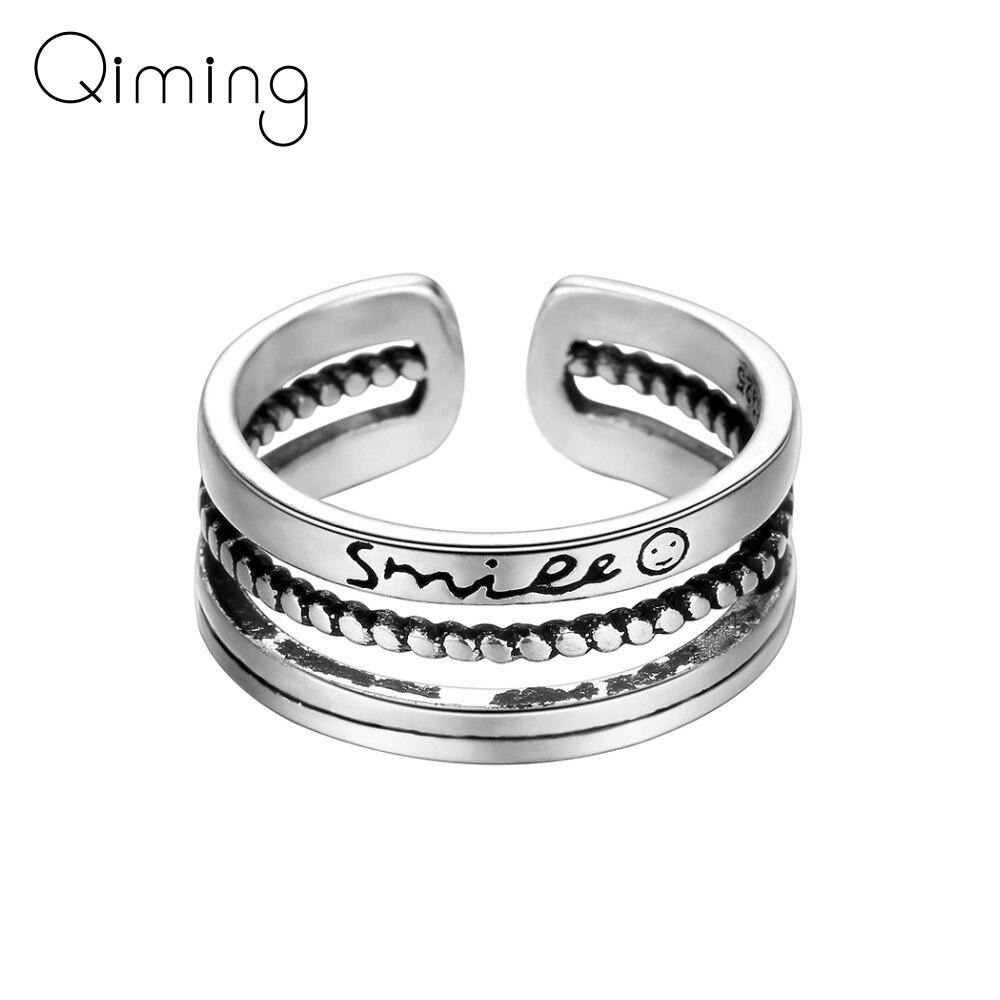 Geometric Twist Smile Face Ring Fashion Vintage Thai fashion Knuckle Toe Finger Ring Party Jewelry Women Men Bague