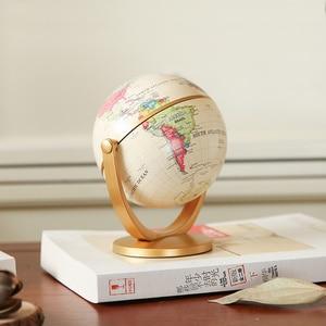 Image 3 - 1PC Rotante Vintage Mondo Globo Con Supporto Della Terra Ocean Mappa Sfera Desktop Da Ufficio Antico Complementi Arredo Casa Geografia Modello Educativo