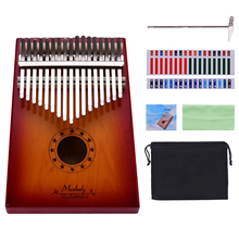 Sticker Thumb-Piano Tuning-Hammer Mbira Kalimba Solid-Wood 17-Keys with Carrying-Case