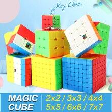 Magiczna kostka prędkości 3x3x3 2x2x2 4x4x4 5x5x5 6x6x6 7x7x7 Cubo Magico 2x2 3x3 4x4 5x5 6x6 7x7 przestrzenne Puzzle Meilong zabawki prezenty dla dzieci