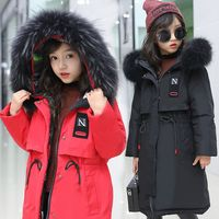 2019 Girls Duck Down Jackets Russian Winter Long Sections Thickening Warm Outerwear & Coats Girl Fur Collar & Parkas 35 Degrees