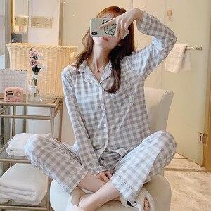 Image 4 - 2020 Women Pajamas Sets with Pants Long Sleeve Turn down Collar Pyjama Print Cute Cartoon Button Top+Pants Pijama Soft Homewear