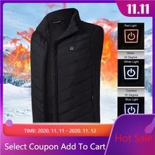 Men Women Electric Heating Vest Jacket Sleeveless Waistcoat USB Thermal Clothing Winter Warm Jacket Outerwear Male Heated Vest