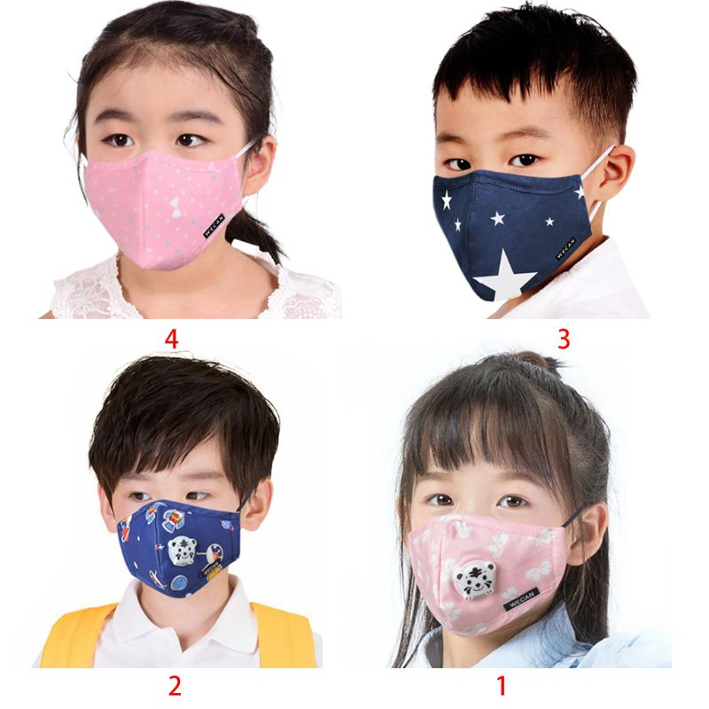 Kids Cartoon PM2.5 Cotton Mouth Mask Anti Dust Pollution Winter Warm Washable Half Face Cover Respirator With Valve