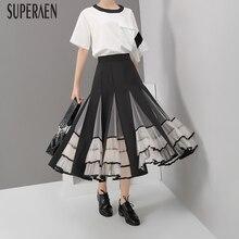 SuperAen новые европейские модные женские юбки осень 2019 Уайлд Высокая талия сетчатые юбки женские повседневные